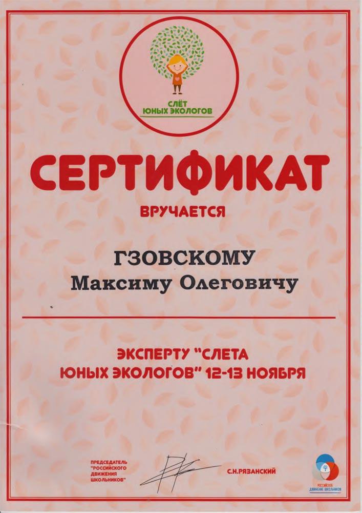 Сертификат Эксперту «Слета юных экологов»